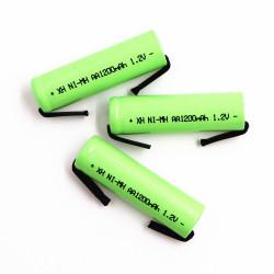 3 Batterie rechargeable 1200mah 2A 1.2v lr06 cosse aa am3 lr6 ni-mh avec patte pour rasoir brosse dent