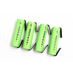 4 Batteria ricaricabile 1200mah 2A 1.2v lr06 aa am3 lr6 ni-mh con zampa per spazzolino da barba