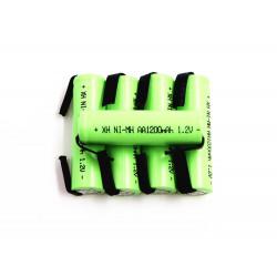 5 Batería recargable 1200mah 2A 1.2v lr06 aa am3 lr6 ni-mh con pata para diente de cepillo de afeitar