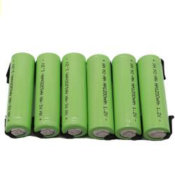 6 Batterie rechargeable 1200mah 2A 1.2v lr06 cosse aa am3 lr6 ni-mh avec patte pour rasoir brosse dent