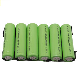 6 Rechargeable battery 1200mah 2A 1.2v lr06 aa am3 lr6 ni-mh with paw for razor brush tooth