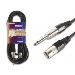 Professional xlr cable, xlr male to 6.35mm mono jack (6m)