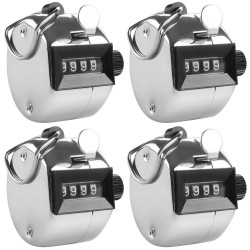 4 Chrome mechanical 4 digit counts 0-9999 hand held manual tally counter clicker golf