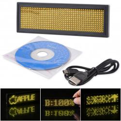 Mini recargable LED amarillo Display programable Insignia conocida de desplazamiento con la programación USB, diferentes idiomas
