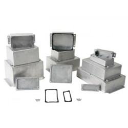 Sealed die cast aluminium case with flange