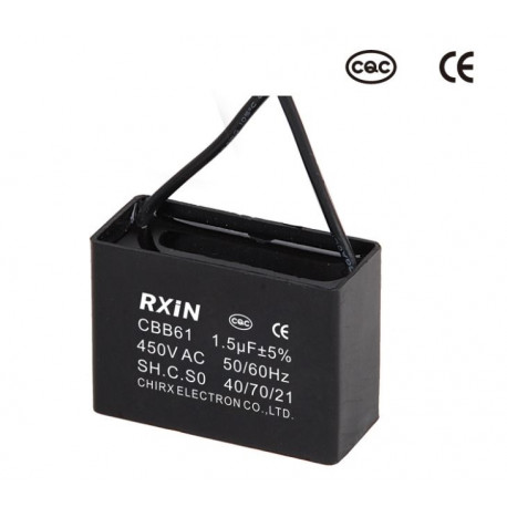 CEILING FAN CAPACITOR CBB61 1.5uf 2 WIRE 450V