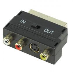 Scart-adapter männlich 21 pin rgb / 3 rca s-video-scart-av audio avb044 56g schalter tv in out