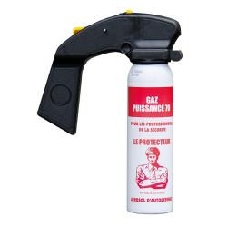 Aérosol gaz lacrymogène CS puissance 70 100ml poignée anti agression spray paralysant