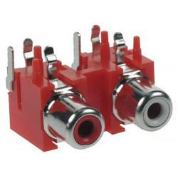 Dual rca plug female, nickel, pcb mount