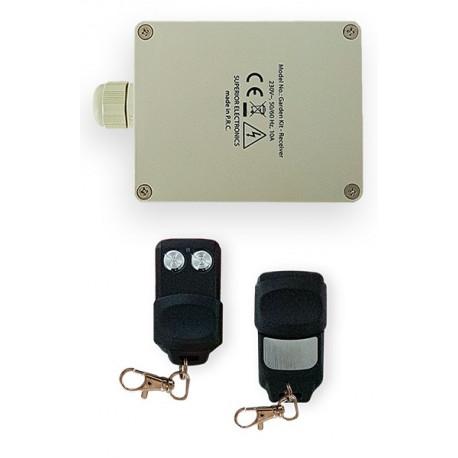 Kit récepteur d'extérieur 220V 2 canaux 12A + 2 Télécommandes 433 MHz grille volet éclairage jardin