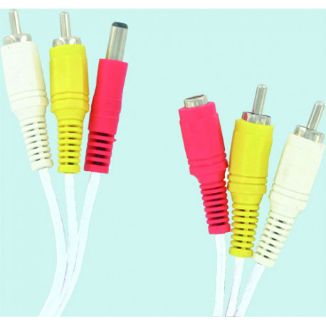 Audio video cable 10m 2 rca male / male 2 rca jack + alim alim alim cable jack female to camera