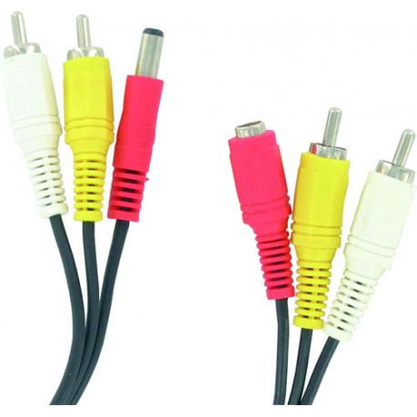 Audio video kabel 5m 2 cinch-stecker / stecker 2 cinch-buchse + alim alim alim kabel klinke buchse der kamera