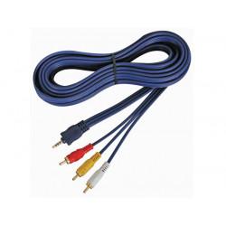 Audio videokabel 4 poliger 3.5mm stecker auf 3 x cinchstecker 2m avb02020