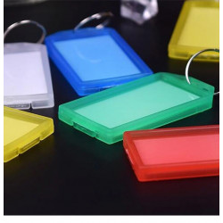 plastic keychain WITH tag metal ring luggage ID card name