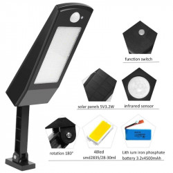 Lampe solaire 48LED 900LM Lumineuse murale PIR Sensor Motion 4 Modes avec detecteur mouvement