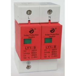 Oleada eléctrica 275v 220v din rail 2 oleada polo tipo 1 80ka descargador ly1 b80 2p