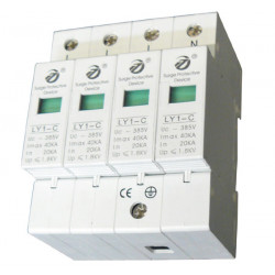 Parafoudre electrique rail din 385v/420v 4 pole type 2 40ka parasurtenseur surtension ly1 c40 4p