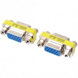 Mini adaptateur vga metallique hd15 pins femelle vers hd15 pins femelle konig gchd ff15p