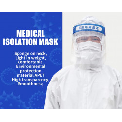 Máscara protectora de aislamiento montada en la cabeza Máscara de cara completa Antivirus Máscara protectora médica impermeable