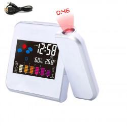 Reloj despertador de proyección con estación meteorológica termómetro indicador de fecha reloj digital cargador USB