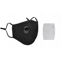 Masque respiratoire lavable coton reutilisable avec valve + 1 filtre mrlavf anti pollution