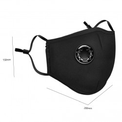 Masque respiratoire coton lavable reutilisable + valve sans filtre 5 couches anti pollution
