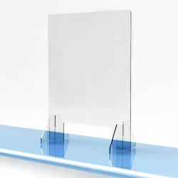 vitre ecran protection plexiglass transparent comptoir accueil réception separation latérale bouclier poustillons hygiaphone
