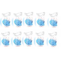 10 Masque respiratoire a lanieres + 1 lunette antipollution protection 3 couches Housse anti-poussière usage unique