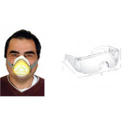Masque respiratoire + lunette masque anti pollution filtration kit securite