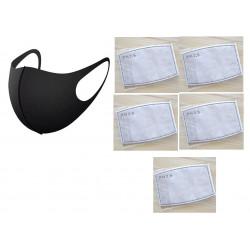 Masque respiratoire lavable reutilisable + 5 filtre 5 couches mrlavf anti poussiere pollution