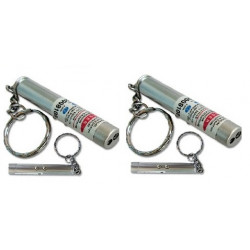 Pack of 2 2in1 red laser pointer w led keychain torch flashlight
