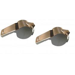 2 sifflet à roulette bille métal police militaire tonalité haute arbitre