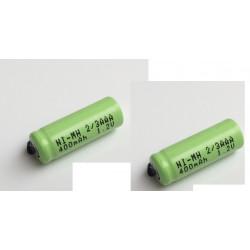 2 x 1.2V batería recargable 2 / 3AAA 400mah 2/3 AAA ni-mh nimh cell con los pernos de la pestaña