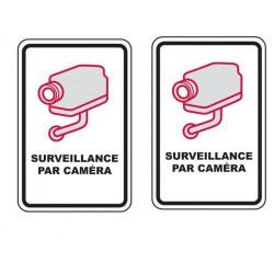 2 Panneau avertissement videosurveillance plaque signalitique à visser 30x21cm signalisation camera