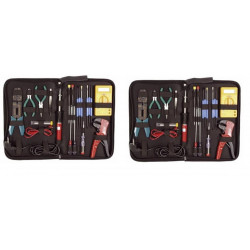 2 Kit outillage 19pcs fer à souder pince coupante sertir dénuder multimètre tournevis/testeur vtset26