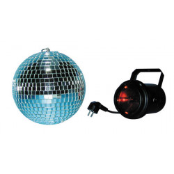 Electric lighting pack disco pack with 1 b20 mirror ball + 1 pf professional spotlight+ 1 par36 bulb + 1 gr red filter mirror ba