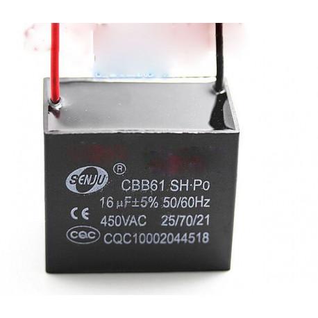 Condensatore metallizzato CBB61 250v per ventilatore da soffitto a motore 500VAC 16uF 16mf
