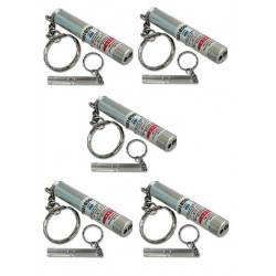 Pack of 5 2in1 red laser pointer w led keychain torch flashlight