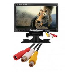 Moniteur video couleur 7 pouce 18cm 12v pour 2 cameras tft lcd telecommande surveillance