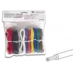 Assortiment fils de cablage 0.2mm 10 couleurs 60m ame multibrins k/mow velleman