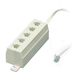 5-way phone telephone line jack plug outlet socket splitter adapter 4 3 2 1 RJ11