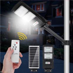 Lampe solaire Réverbère LED 60W Radar PIR capteur de mouvement télécommande