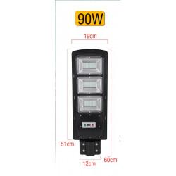 Lampe solaire Réverbère LED 90W Radar PIR capteur de mouvement télécommande