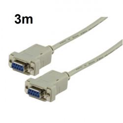 Cable de serie db9 femelle vers db9 femelle 3m konig cable-124
