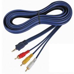 Audio videokabel 4 poliger 3.5mm stecker auf 3 x cinchstecker 5m avb02050