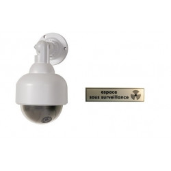 Indoor Outdoor Dome Fake Surveillance Camera,Waterproof, Red Flashing/Blinking LED, Dummy CCTV Security Camera, Adjustable Mount