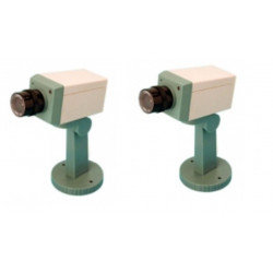 2 dummy camera + led + support video surveillance fake security cameras dummy camera led support fake security system dummy vide