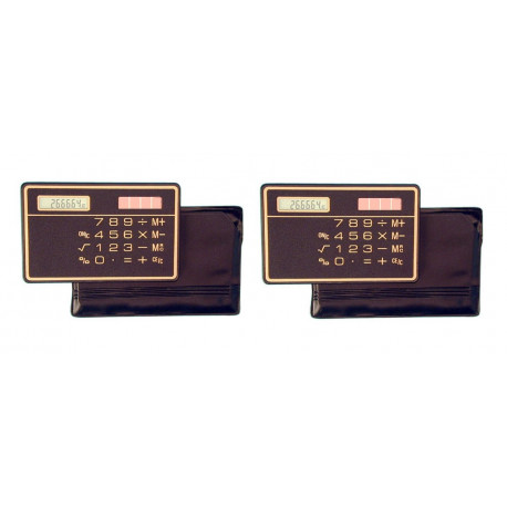 2 Slim Credit Card Calculator Solar Power Pocket Novelty Small Travel Compact electronic solar powered
