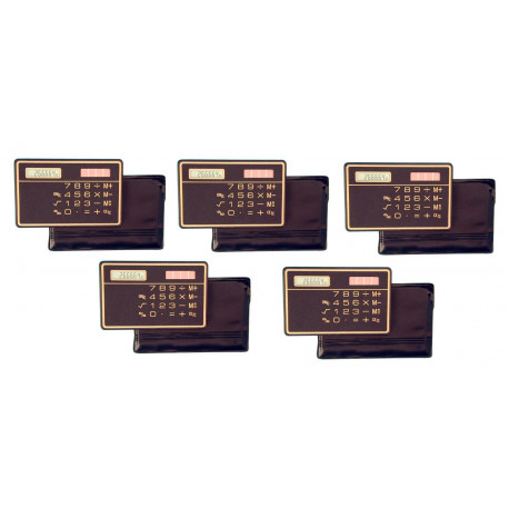 5 Slim Credit Card Calculator Solar Power Pocket Novelty Small Travel Compact electronic solar powered