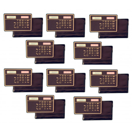 10 Slim Credit Card Calculator Solar Power Pocket Novelty Small Travel Compact electronic solar powered